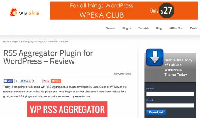 WP RSS Aggregator Reviewed on WP Eka