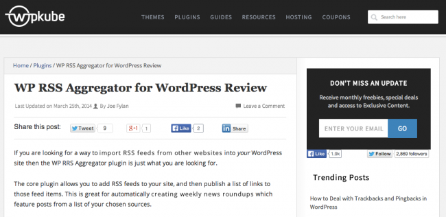 WP RSS Aggregator Reviewed on WP Kube