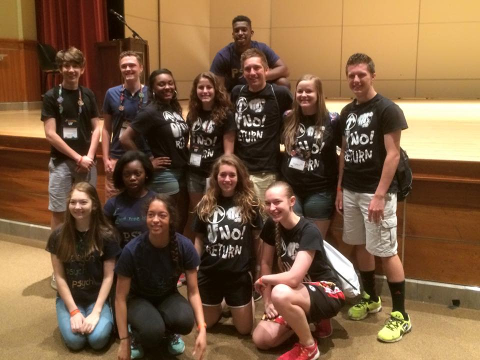 Maryland's three secondary improv teams supporting each other at Global Finals….
