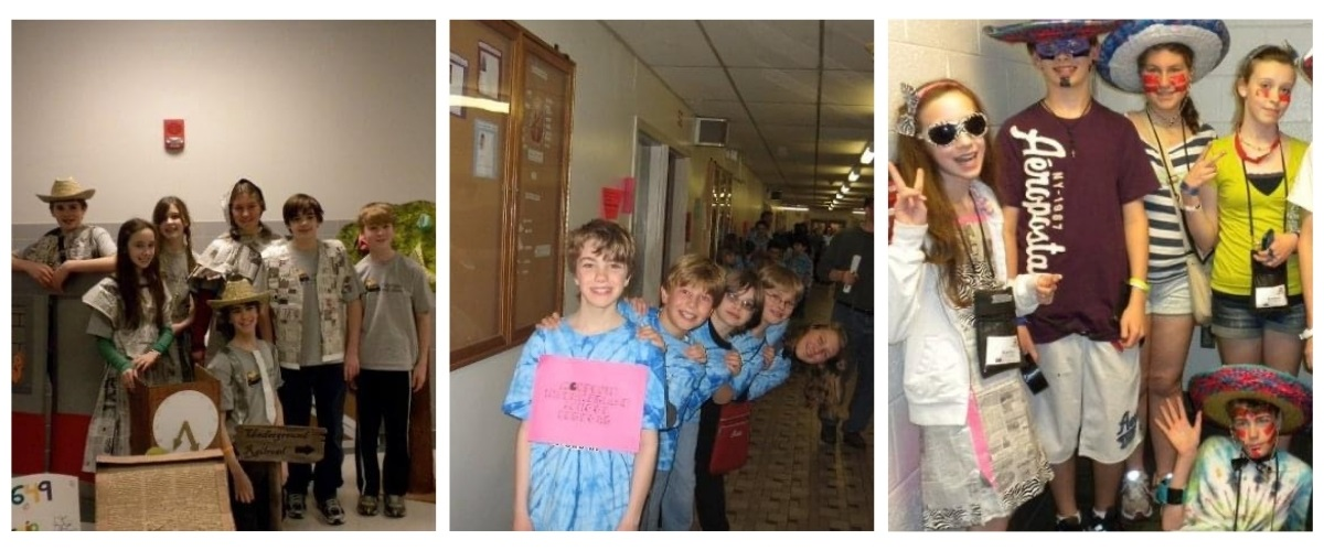 3 photos of Abby Hibbard and her DI teammates over the years.